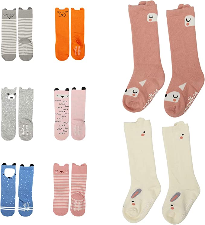 Toddler Socks Non Skid Cotton Knee High Stockings For Boys/&Girls leg warmers 6-Pairs
