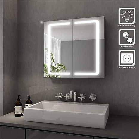 Elegant Bad Spiegelschrank mit Beleuchtung LED Licht ...