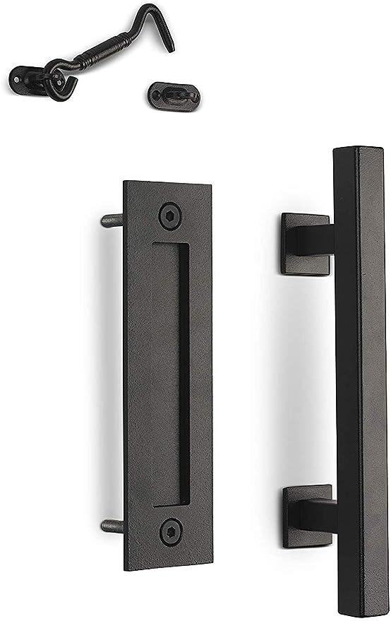 MJC & Company - Picaporte para puerta corrediza (acero inoxidable, revestimiento en polvo negro): Amazon.es: Bricolaje y herramientas