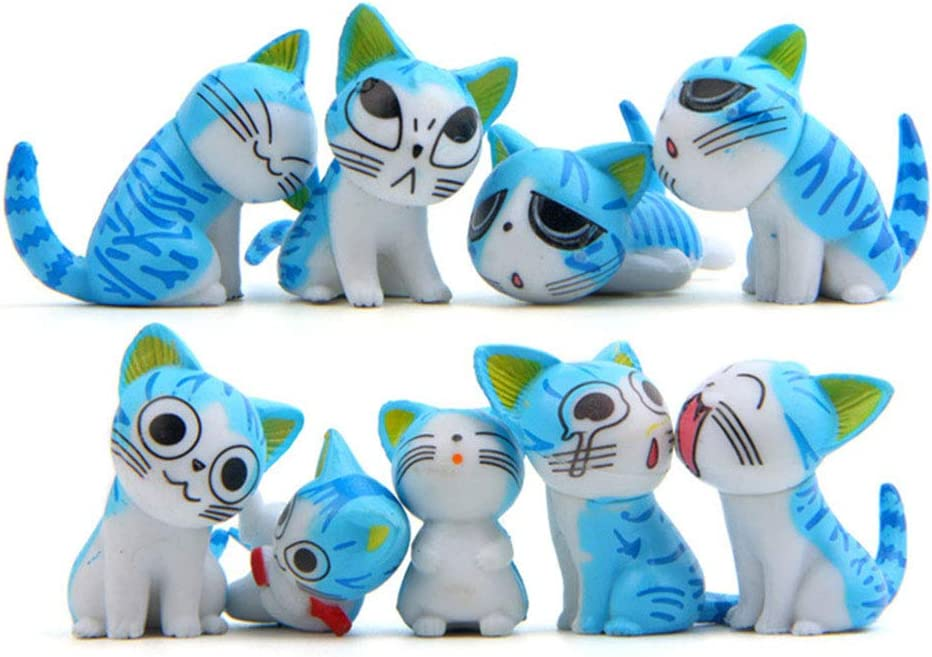 9 Pcs Cat Figurines, Cat Animal Collection Toy for Miniature Fairy Garden, Cake Topper Decoration (Blue)