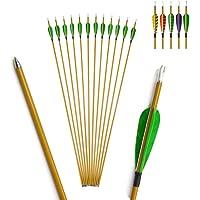 IRQ 2 Satz Bogen und Pfeil Set f/ür Kinder- Bambus-Langb/ögen und Holzpfeile 6er f/ür Outdoor-Spiele
