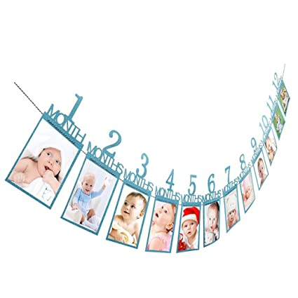 Guirnalda de papel con marcos de fotos para cumpleaños, para colgar en la pared,