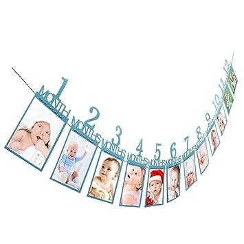 Guirnalda de papel con marcos de fotos para cumpleaños, para colgar en la pared, diseño de álbum de fotos Y56, creativo marco de fotos de papel de 1 a ...