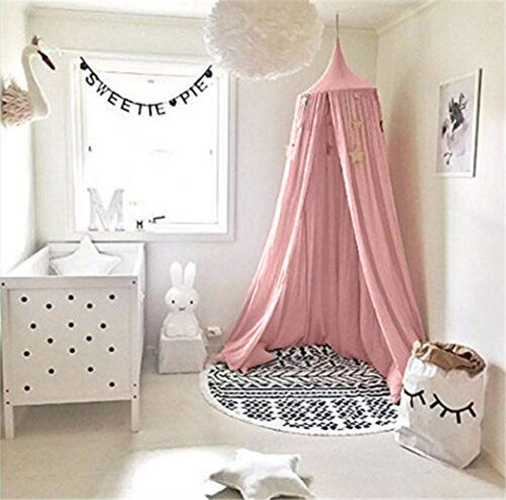 Bed Canopy for children, Cotton Mosqutio Net Hanging Curtain, Baby Indoor Outdoor Play Reading Tent, Bed & Bedroom Decoration, Insect Net Protection (High 240cm,Upper Circumference: 152cm, Lower Circumference: 265cm) (Pink) UltraGood