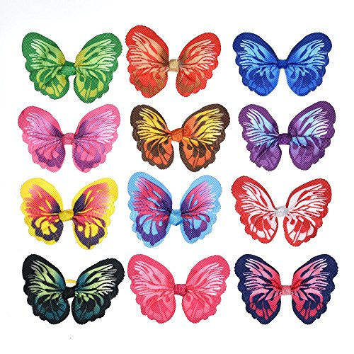 Yagopet 24pcs/12 pairs New Dog Hair Bows Rubber Bands Butterfly Nice Dog Topknot 2.8