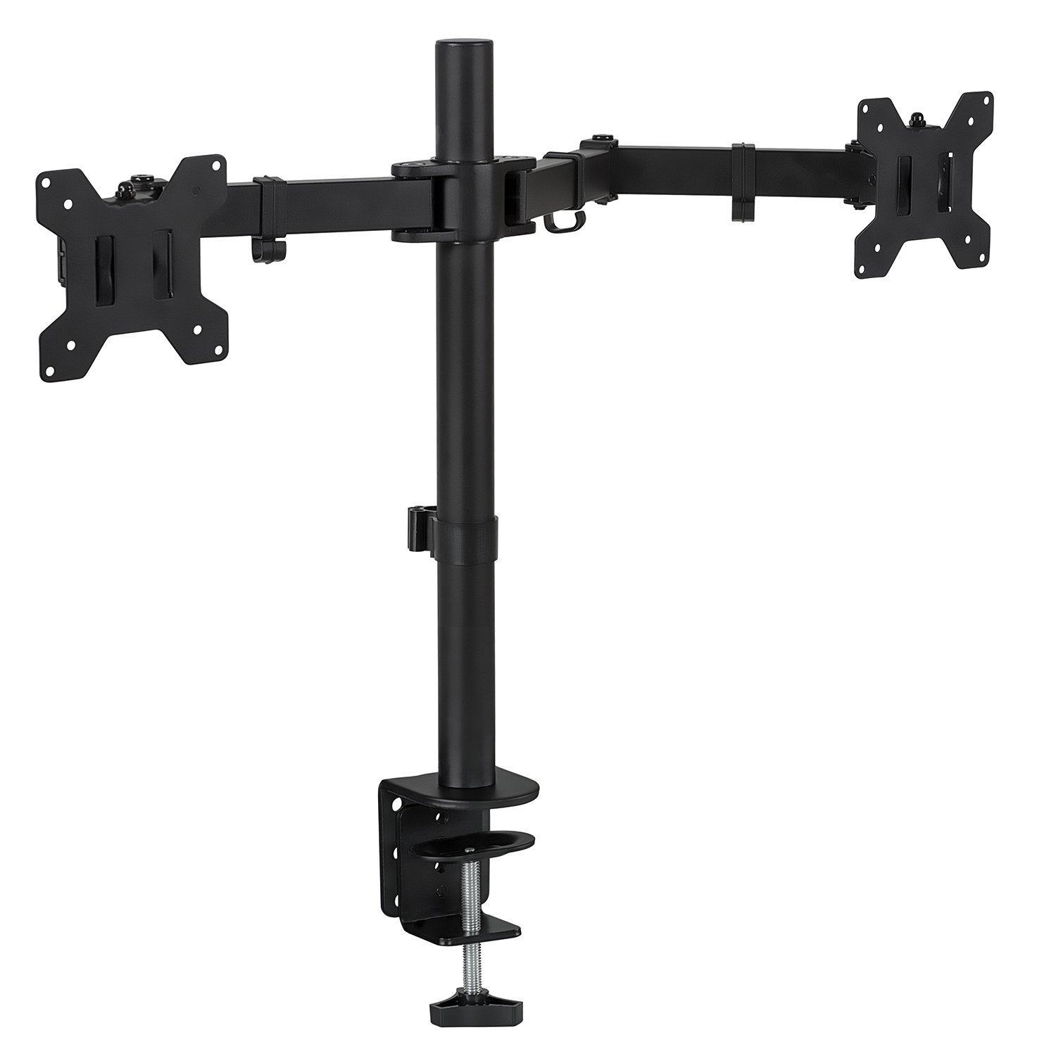 Mount-It Mount Desk Stand for LCD LED Computer Displays Two Articulating Arms Clamp Desk Installation Fits up to 27 Inch Screens Heavy-Duty VESA 75 and 100, BLACK, Dual Monitor