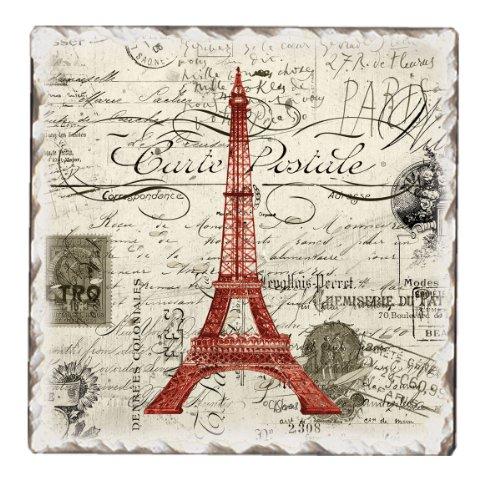 CounterArt Vintage Paris Tumbled Tile Trivet, 6-Inch