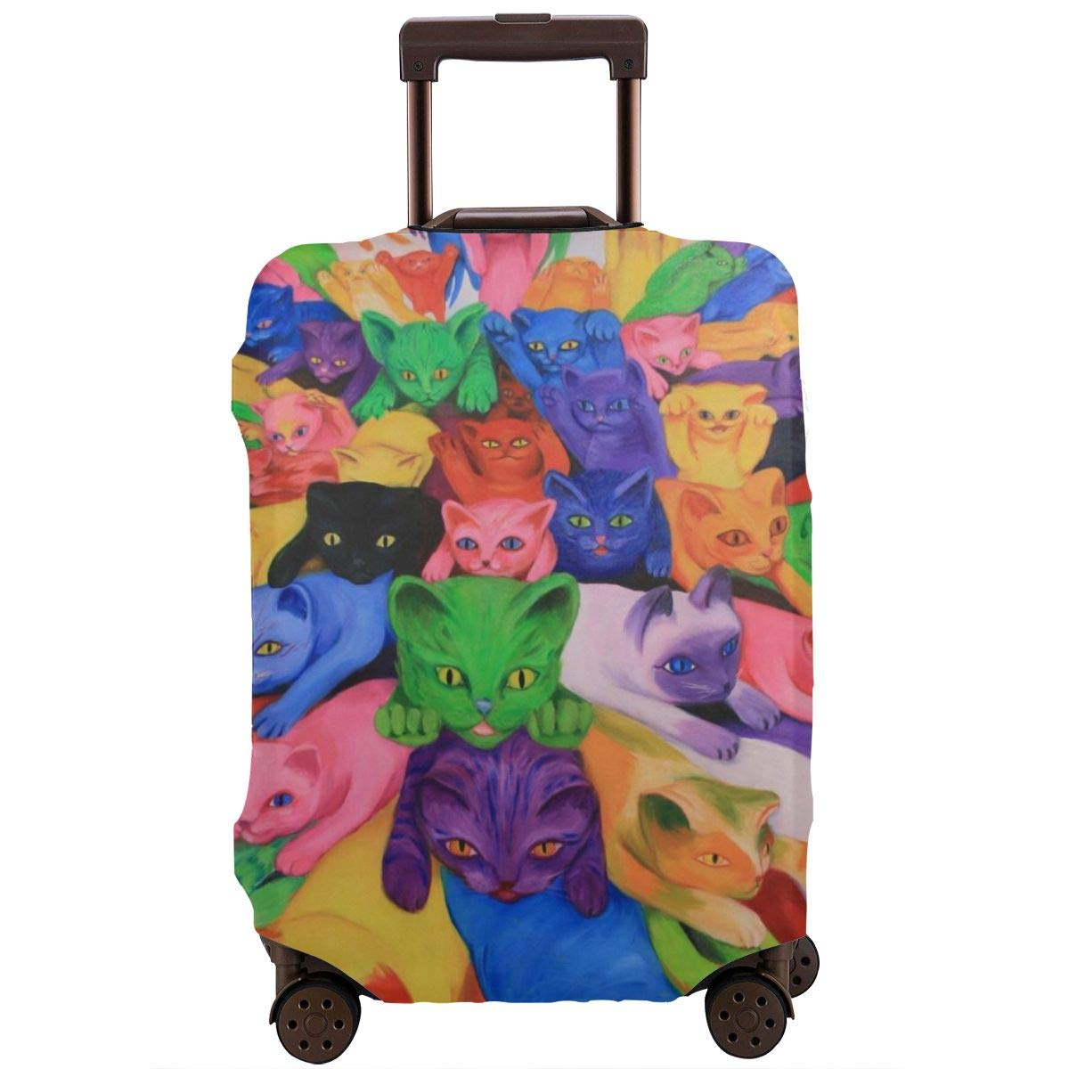 Luggage Covers Suitcase Protector Travel Suitcase Baggage Cover Psychedelic Tie Dye Funny Cat Fit 18 To 32 Inch