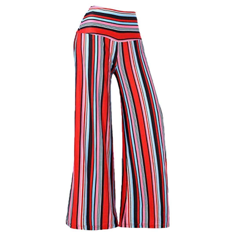 Ankola Women's Loose Pants Women's Stripe Flowy Wide Leg Elastic Waistband Mid-waist Palazzo Long Pants (L, Red)