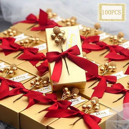 100 cajas de regalo de oro con etiqueta de boda y cinta ...