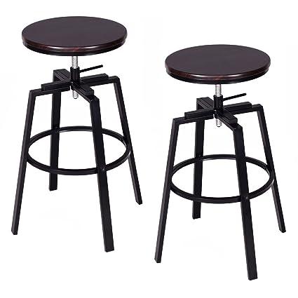 Costway Set Of 2 Vintage Swivel Bar Stool Adjustable Wood Metal Design  Bistro Pub Chair Industrial