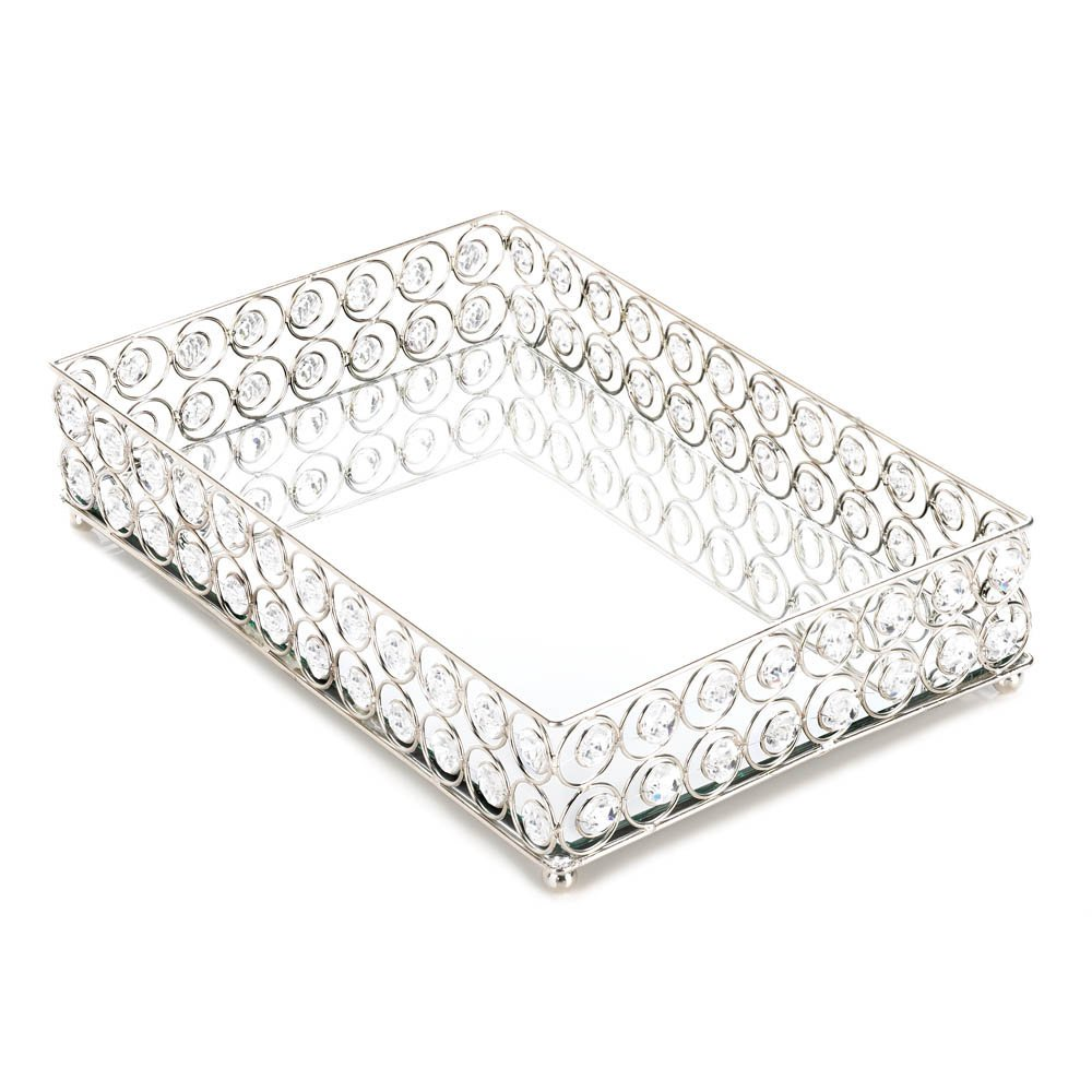 Koehler 10017443 13 Inch Shimmer Rectangular Jeweled Tray, 15.5 x 11.4 x 5 inches