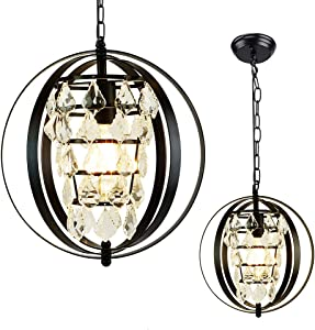 Depuley Industrial Metal Pendant Light Fixture, Globe Farmhouse Chandelier Lights, Black Spherical Adjustable Hanging Ceiling Light Fixture for Kitchen, Dining Room, Bedroom Lighting