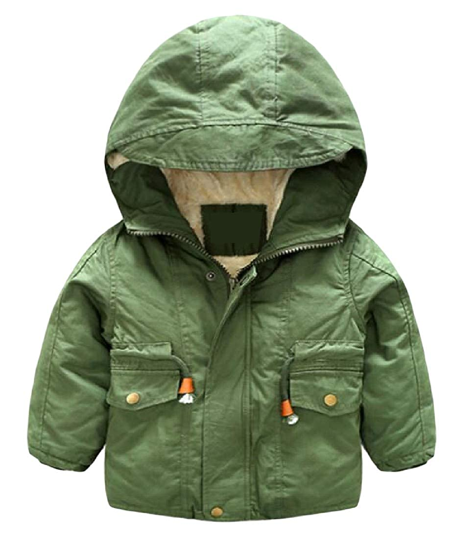 Sweatwater Boys Stylish Thick Winter Hooded Wool Lined Zip Up Parkas Coats