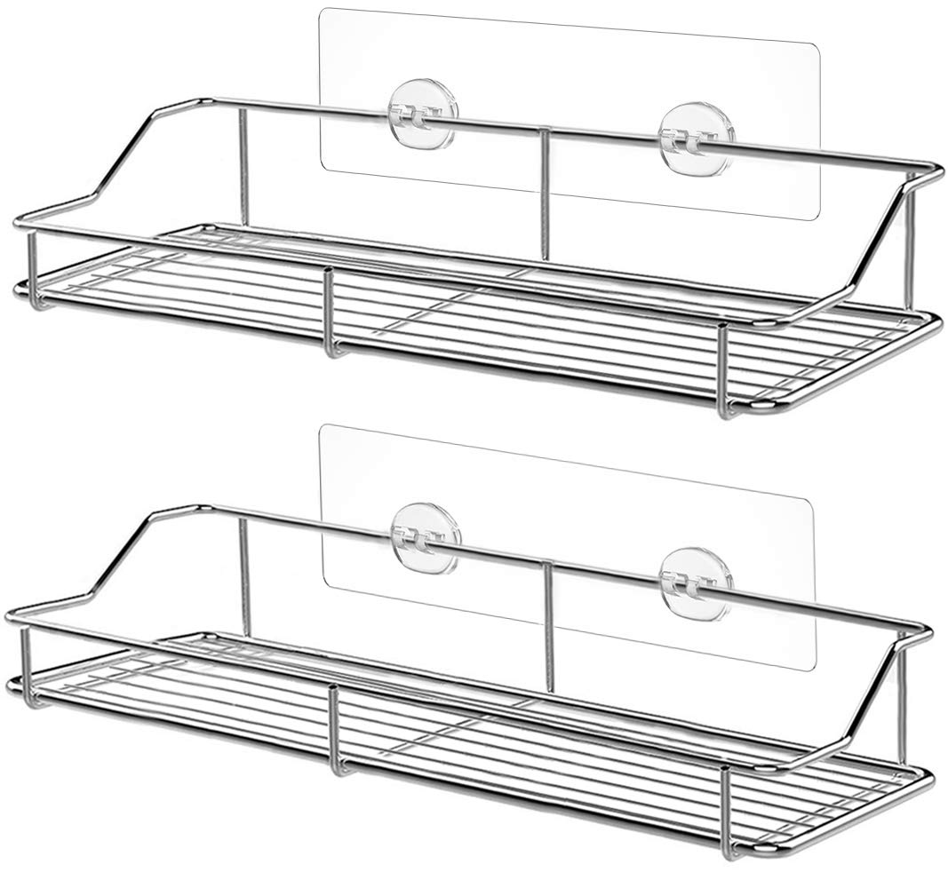 SMARTAKE 2-Pack Shower Caddy, Rustproof Bathroom Shelf with Adhesive Wall Mounted, No Drilling Strong Shower Caddies Kitchen Racks, Stainless Steel Organizers and Storage (13 Inches)