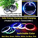 (Pack of 1) Solar Energy LED Car Cup Holder Bottom Pad Mat Switchable Color Trim Interior Decoration Atmosphere lighting lamps lights for lincoln mkz mkc mkx mkt mks accessories