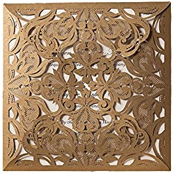 """50X WISHMADE 6"""" x 6"""" Gold Square Laser Cut Invitation Kit Card Stock for Wedding Bridal Shower Engagement Birthday Anniversary Dinner Party Quinceanera with Envelopes CW519_GO"""