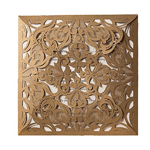 50X WISHMADE Gold Square Laser Cut Invitation Kit Card Stock for Wedding Bridal Shower Engagement Birthday Anniversary Dinner Party Quinceanera with Envelopes CW519_GO