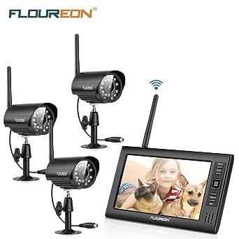 FLOUREON Kit de Cámara de seguridad inalámbrica con 7 pulgada LCD monitor CCTV digital con 3