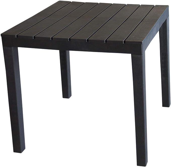 ProGarden - Mesa de jardín Cuadrada con Efecto de Listones para Balcones y terrazas, Color Negro: Amazon.es: Jardín