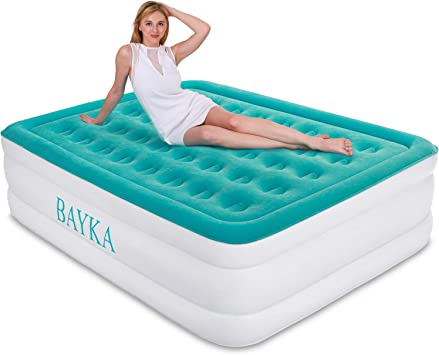BAYKA Queen Air Mattress with Built in Pump, Durable Blow Up Inflatable Mattresses for Guests, Raised 18 Double High Airbed for Home Travel, ...