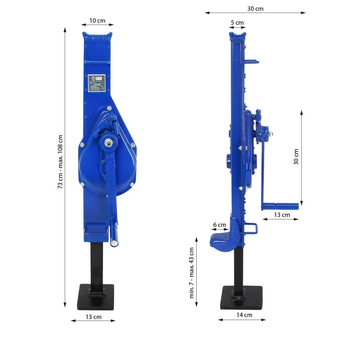 ECD Germany Gato mecánico con Cremallera en Acero 3,0 toneladas Elevador de Carga Extensible con manivela y asa de Transporte Base de Placa 14 cm x 13 cm: ...