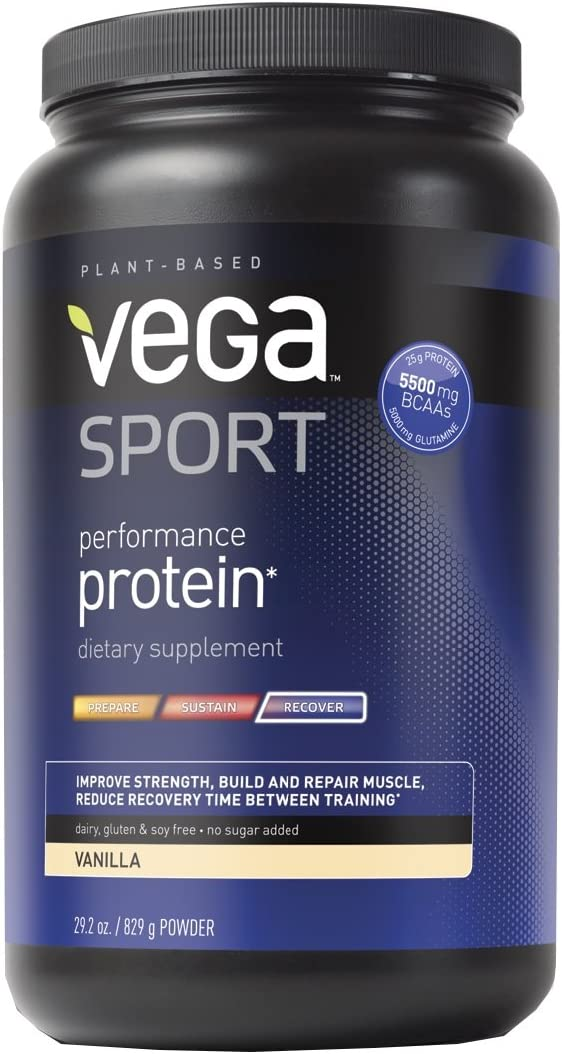 Vega Sport Performance Protein Powder Vanilla Tub, 29.2 oz – Plant-Based Vegan Protein Powder, BCAAs, Amino Acid, tart cherry, Non Dairy, Gluten Free, Non GMO Packaging May Vary