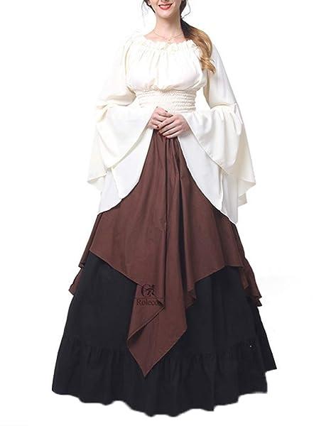 Primavera y Otoño Medieval Renacimiento Vintage Disfraz de Reina Elegante Cuello Barco Cuerno Manga Vestido Mujer
