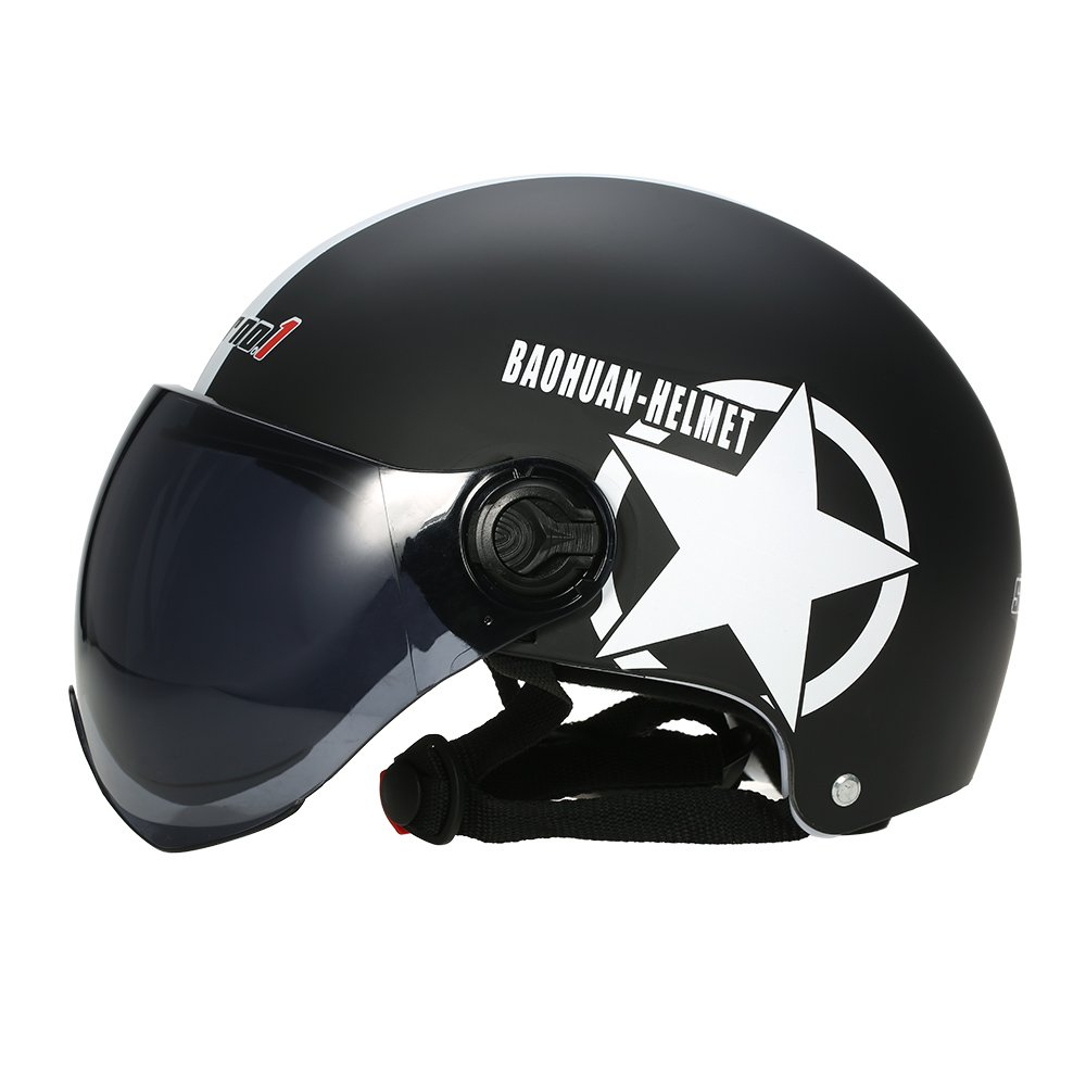 Motorcycle Helmet Half Open Face Adjustable Size Protection Gear Head Helmets Unisex Five-pointed Star