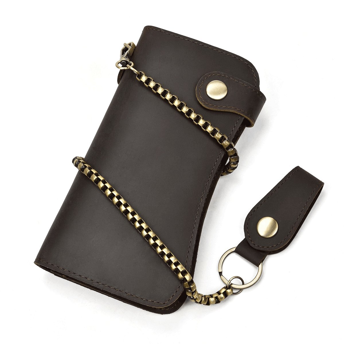 Men's Genuine Leather Long Wallet With Zipper Pocket Vintage Chain Checkbook Purse (Chain wallet)