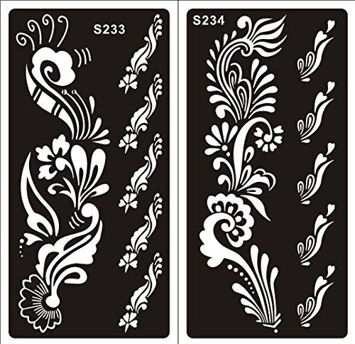 2 Hojas Plantillas de Mehndi tatuaje Stencils autoadhesivo de henna S233 234 - desechable plantillas tatuajes de henna Tie