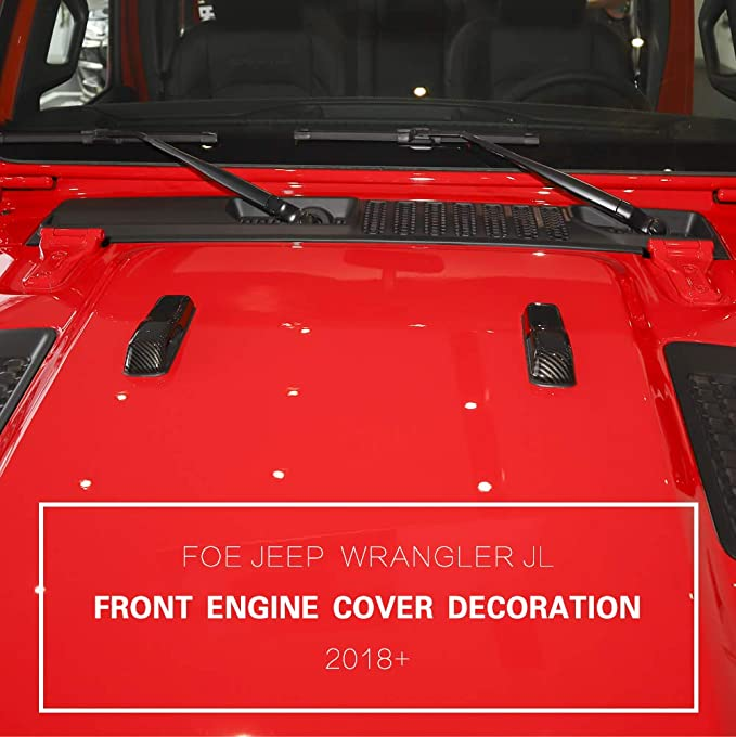 Highitem ABS Car Engine Hood Hinge Cover Decoration Cover Stickers Exterior Accessories for Jeep Wrangler JL 2018 Up Red