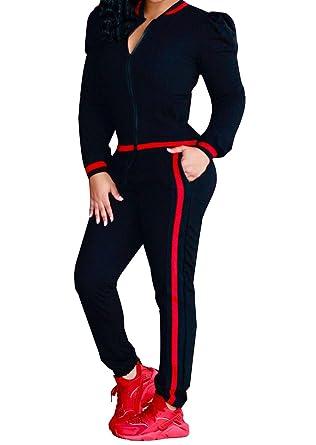 a3ced06b5206 Mycherish Women s Long Sleeve Zipper Jacket Long Pants Jumpsuit Tracksuits 2  Piece Set Black S