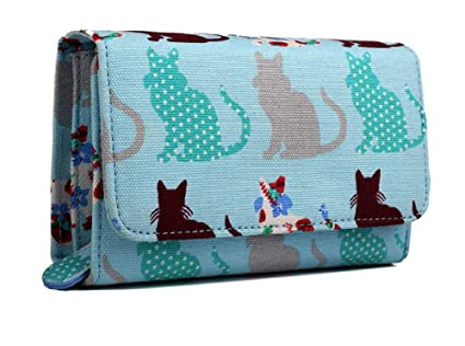 Miss Lulu Luxury Patchwork Cats - Monedero Plegable Azul ...