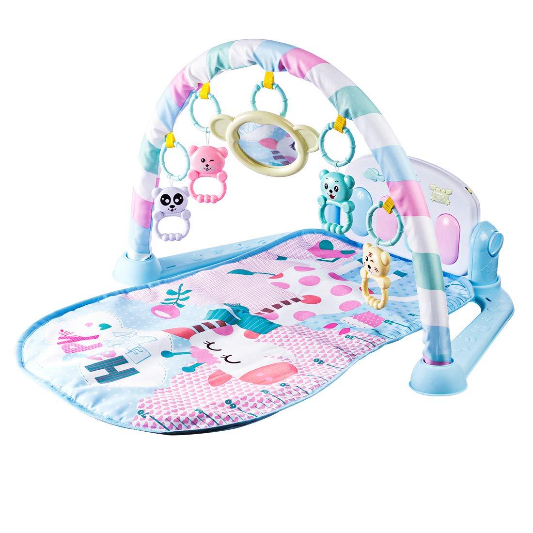 Giplar Spielmatte für Babys, Krabbeldecke mit Musik Babybett Musik-Activity Gym Spielzeug, ab 0 Monaten