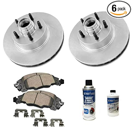 Detroit Axle - Pair (2) Front Disc Brake Rotors w/Ceramic Pads w/Hardware &  Brake Cleaner for 2000 2001 2002 2003 2004 Ford F-150 2WD - [2002 Lincoln