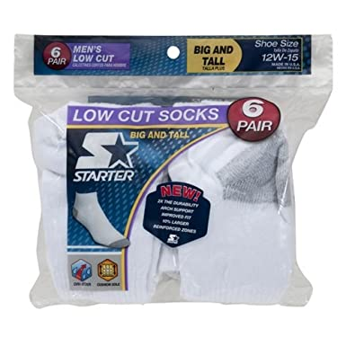 Starter Mens 6-Pair White Low Cut Socks - Big & Tall ...