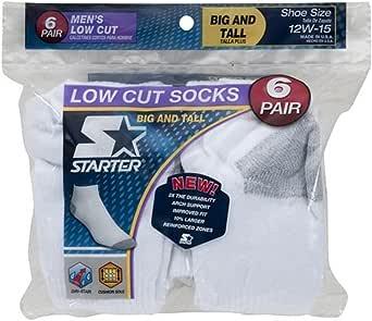 Starter Men's 6-Pair White Low Cut Socks - Big & Tall 12W-15