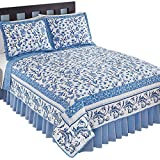 Collections Reversible Delicate Floral Butterfly White & Navy Bedding Quilt with Scroll Border, Blue, Twin