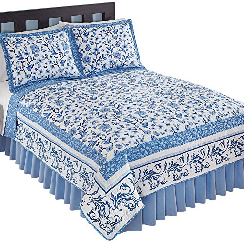 Collections Reversible Delicate Floral Butterfly White & Navy Bedding Quilt with Scroll Border, Blue, Twin by Collections