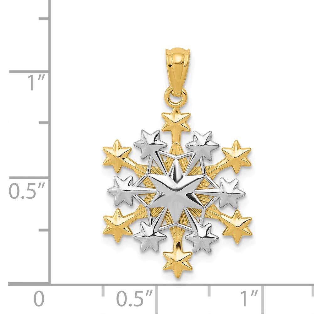 14k Two-tone Snowflake Pendant