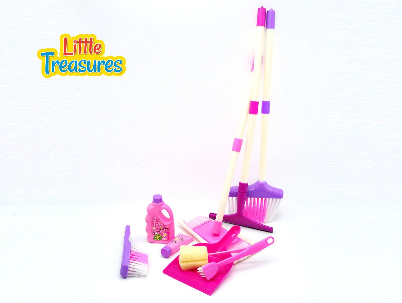 Little Treasures My Little Helper Pretend Play 9 Piece Cleaning Play Set with mop, Dish Brush, soap, Dustpan and Brush, Broom, Squeegee and Sponge by Little Treasures