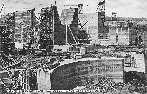 Panama Canal 1910S Nconstruction Of The Lower And Middle Gatun Locks Of The Panama Canal Original Souvenir Photopostcard From Panama City Poster Print by (24 x 36)