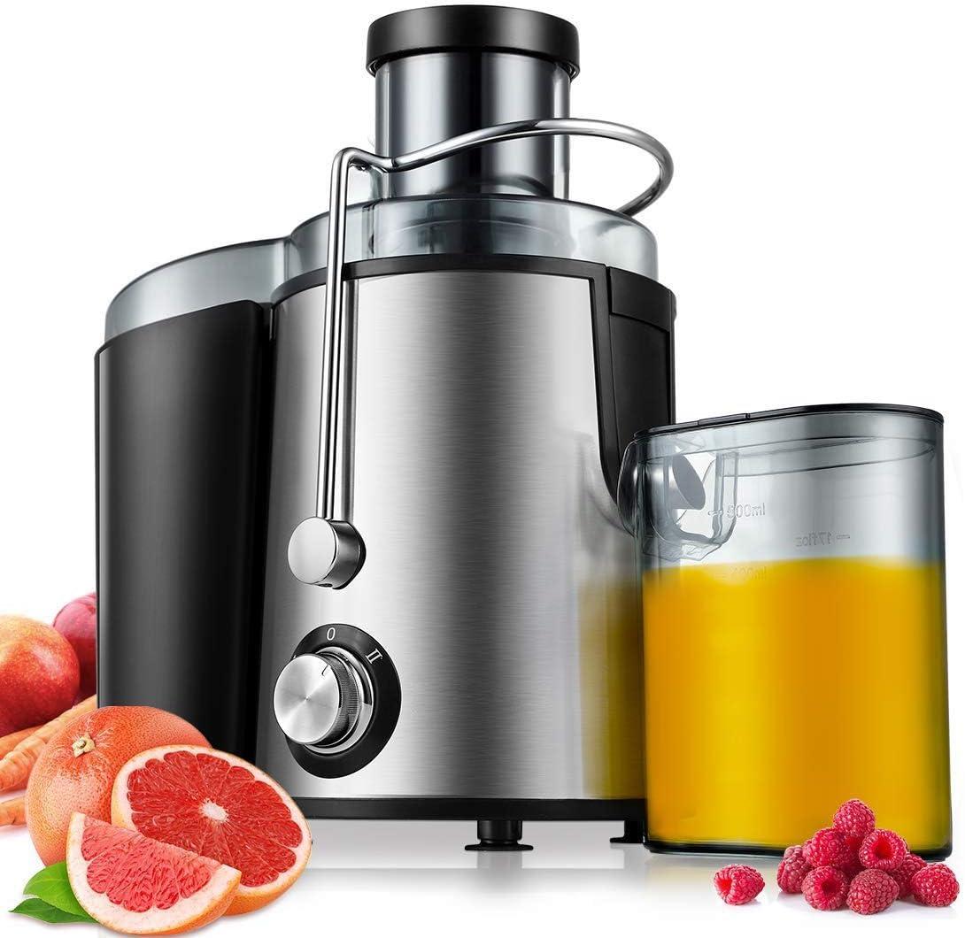 Exprimidor de la máquina, 600W jugo Wide Mouth Extractor Licuadora for el conjunto de frutas y verduras, sin BPA de la categoría alimenticia de acero inoxidable, 2 Configuración de la velocidad centrí