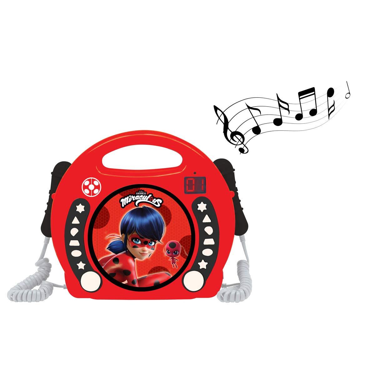 LEXiBOOK Miraculous Ladybug Radio CD, Programming Function, Headphones Jack, for Kids, with Power Supply or Batteries, Red/Black, RCDK100MI by LEXiBOOK (Image #3)