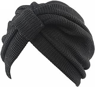 QHGstore Equipaggiata caldo Maglia Croce India Cap Slouchy Baggy protezione del cappello del Beanie delle donne Nero