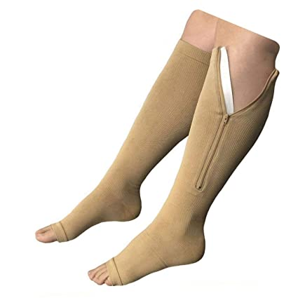 NEW (BIG & TALL 3XL) Open Toe Knee Length Zipper Up Compression Hosiery  Calf Leg Support Stocking Stocks (Beige): Amazon.in: Sports, Fitness &  Outdoors