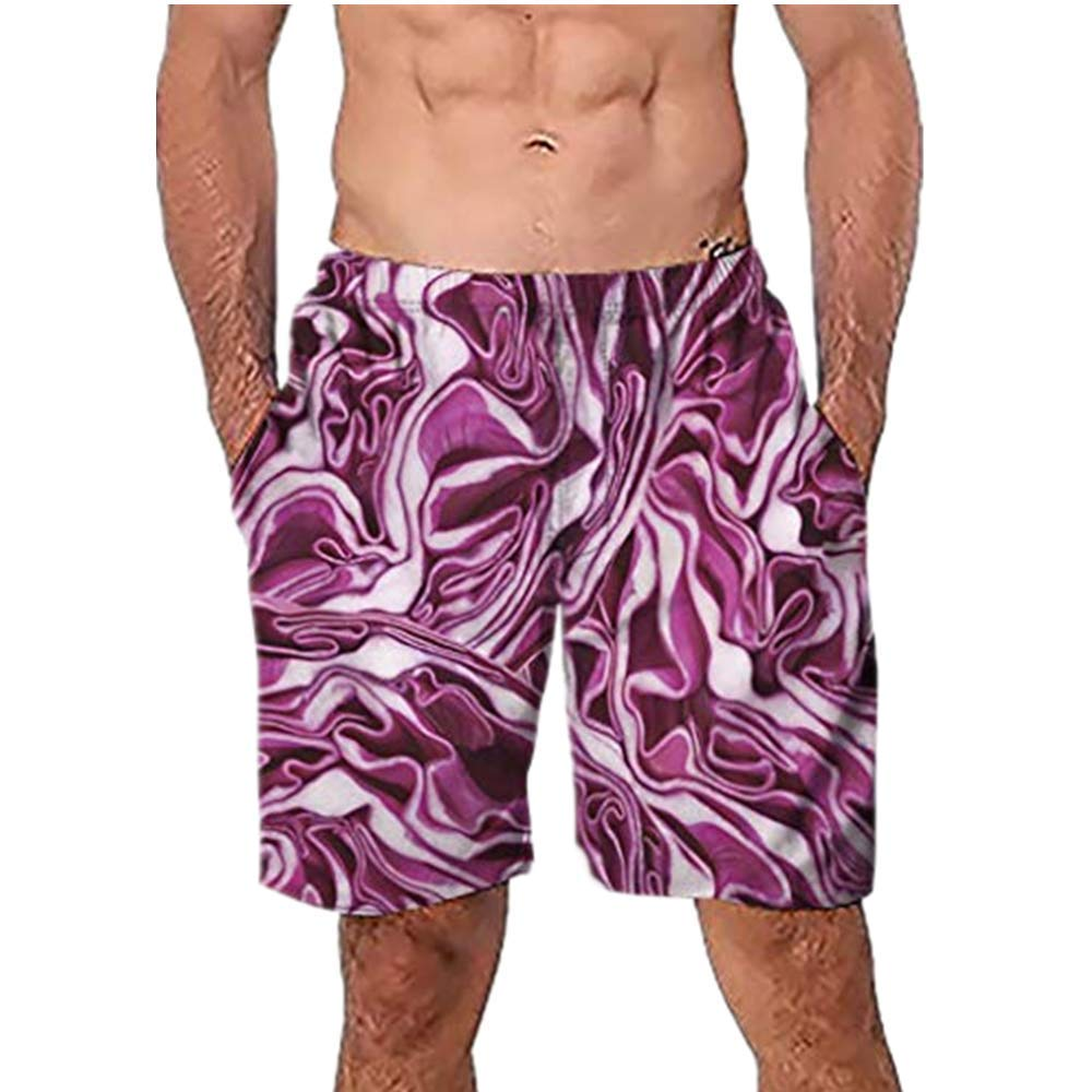 NUWFOR Men Casual 3D Graffiti Printed Beach Work Casual Men Short Trouser Shorts Pants(Multi Color,US:S Waist26.0-29.9'')