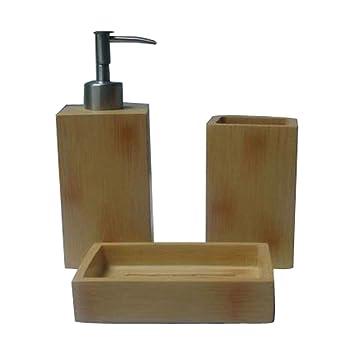 protenrop 2925775 bathroom accessory sets bamboo bamboo - Bamboo Bathroom Set Uk