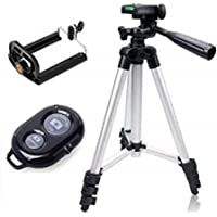 JSTBUY LABEL JBY-3888 Portable and Foldable Camera Mobile Tripod with Bluetooth Wireless Remote Shutter Photo Clicker Controler Compatible with All Smartphone